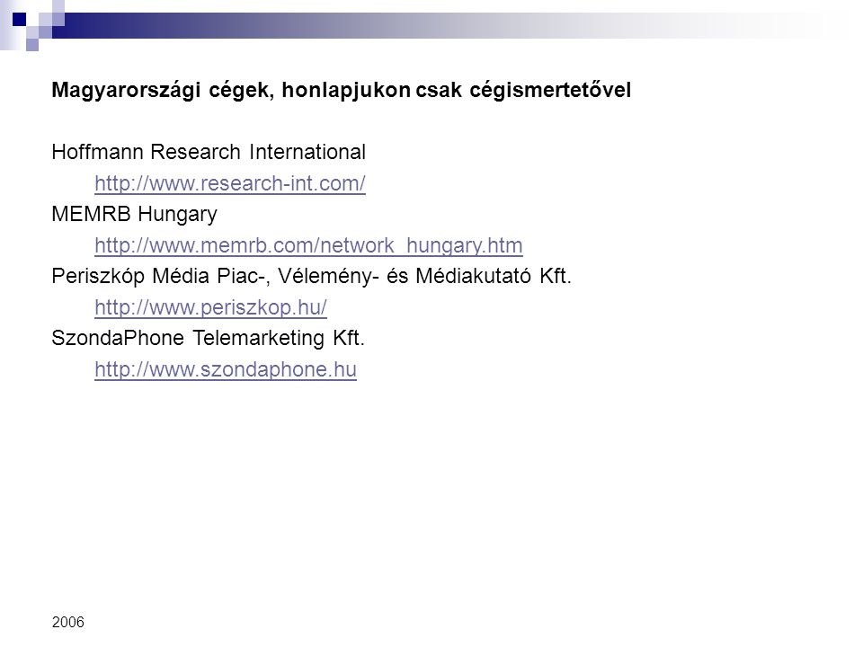 Magyarországi cégek, honlapjukon csak cégismertetővel