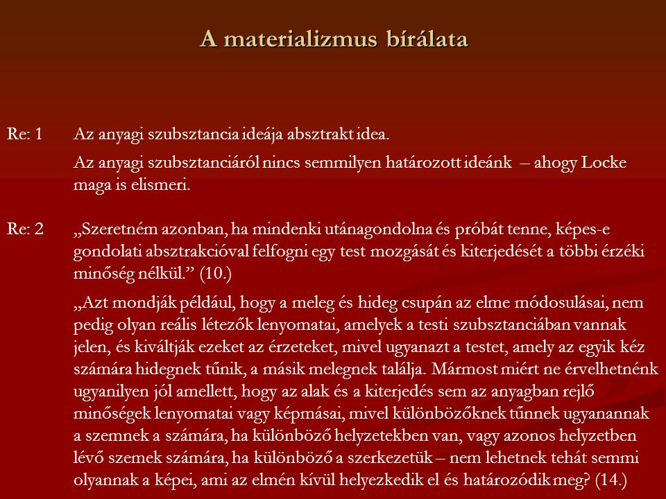 A materializmus bírálata