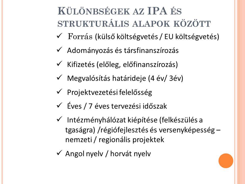 Különbségek az IPA és strukturális alapok között