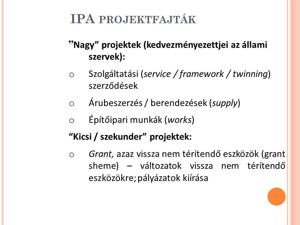 IPA projektfajták Nagy projektek (kedvezményezettjei az állami szervek): Szolgáltatási (service / framework / twinning) szerződések.