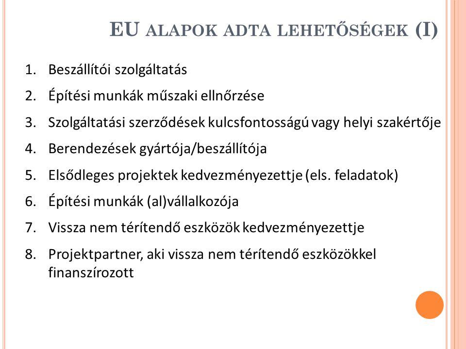 EU alapok adta lehetőségek (I)
