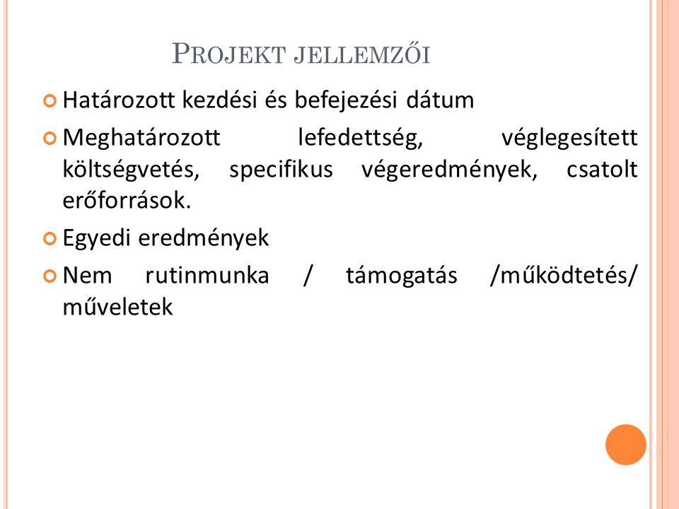 Projekt jellemzői Határozott kezdési és befejezési dátum
