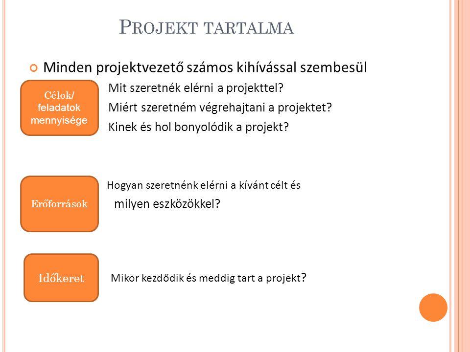 Projekt tartalma Minden projektvezető számos kihívással szembesül
