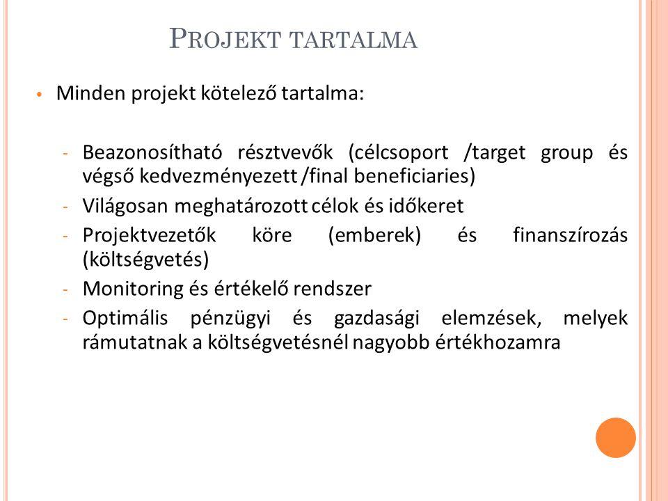 Projekt tartalma Minden projekt kötelező tartalma: