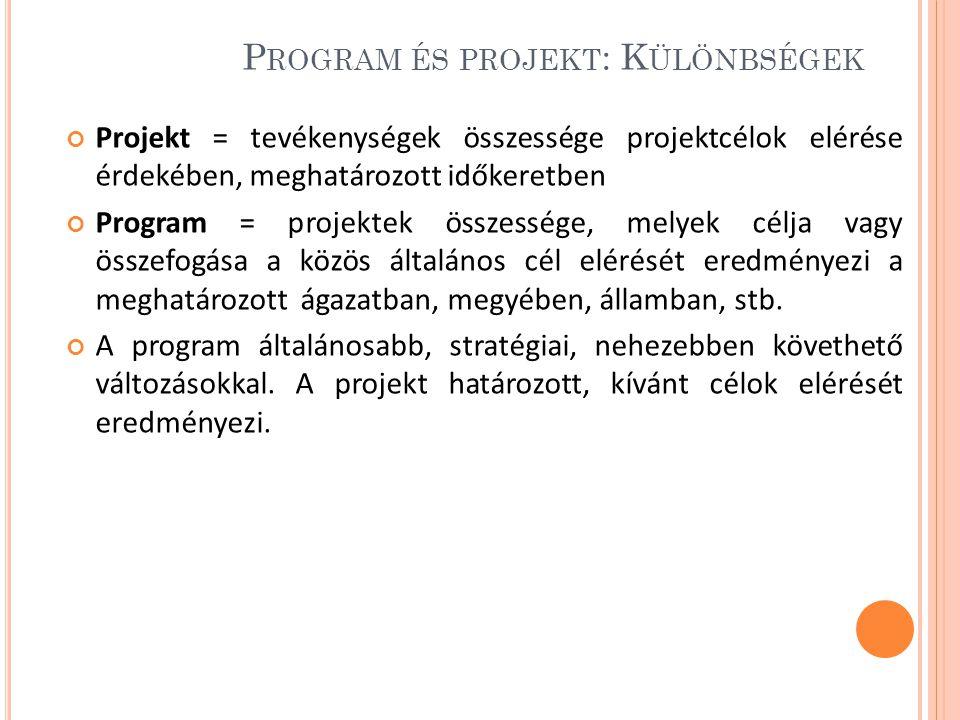Program és projekt: Különbségek
