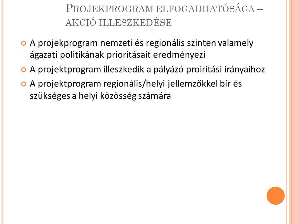 Projekprogram elfogadhatósága – akció illeszkedése