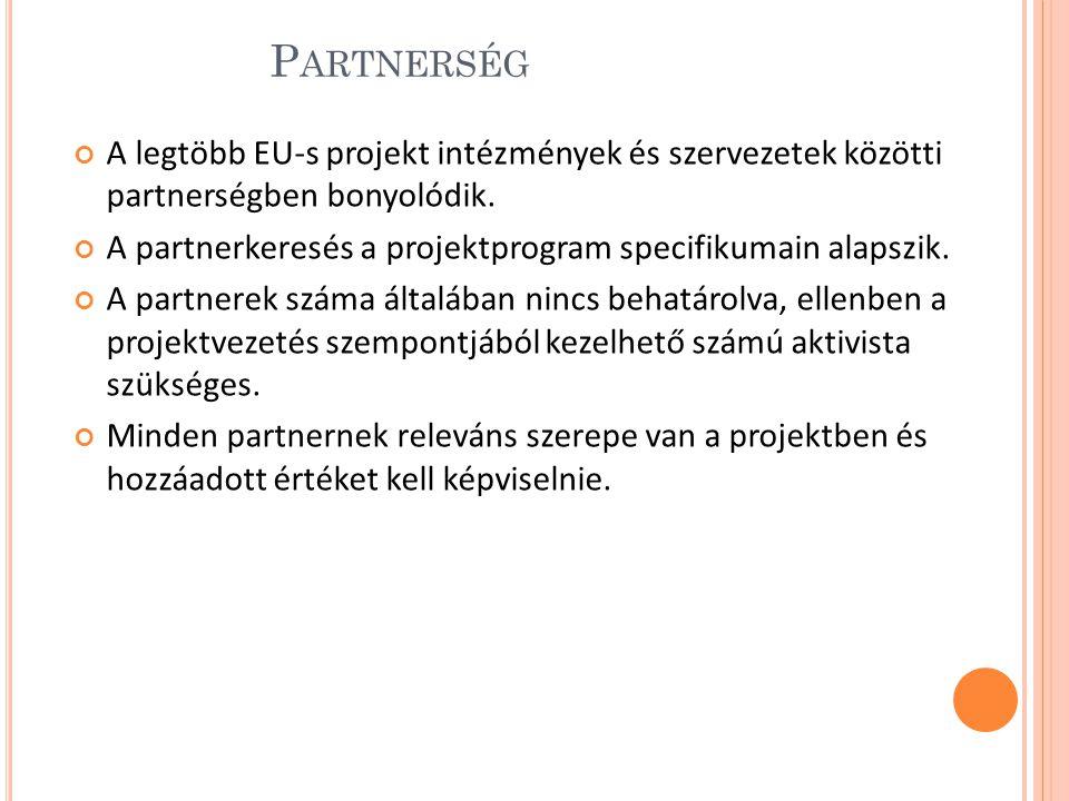 Partnerség A legtöbb EU-s projekt intézmények és szervezetek közötti partnerségben bonyolódik.