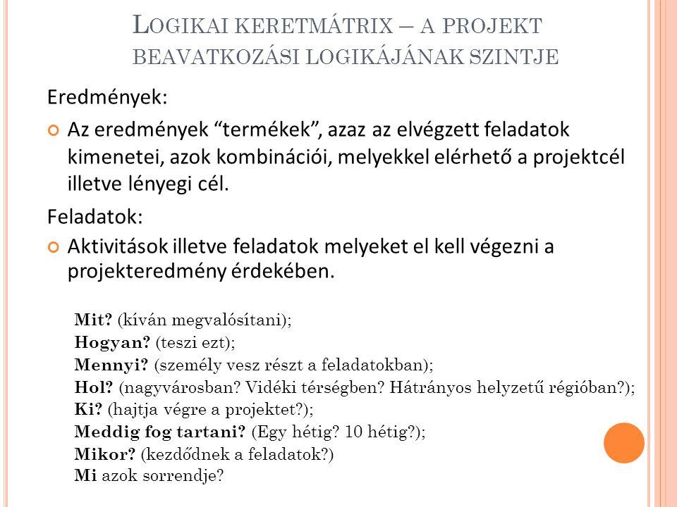 Logikai keretmátrix – a projekt beavatkozási logikájának szintje