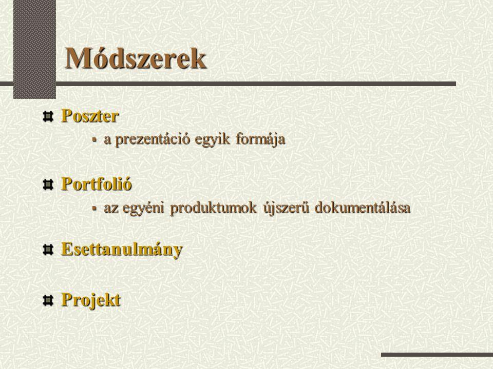 Módszerek Poszter Portfolió Esettanulmány Projekt