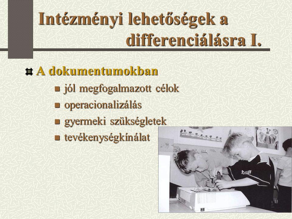 Intézményi lehetőségek a differenciálásra I.