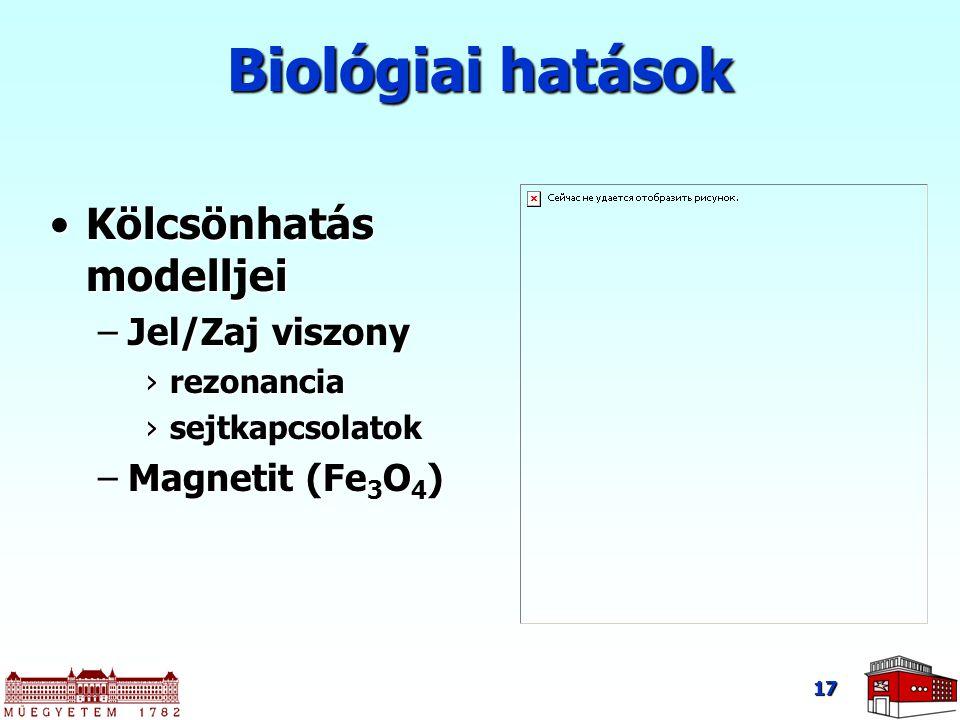 Biológiai hatások Kölcsönhatás modelljei Jel/Zaj viszony