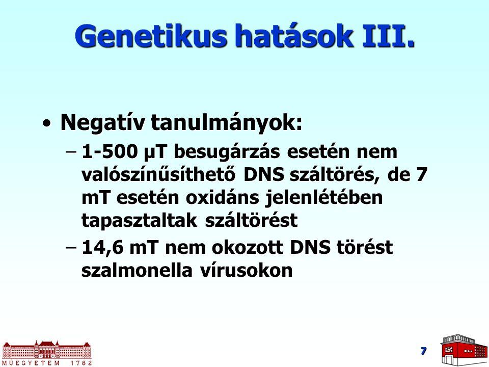 Genetikus hatások III. Negatív tanulmányok: