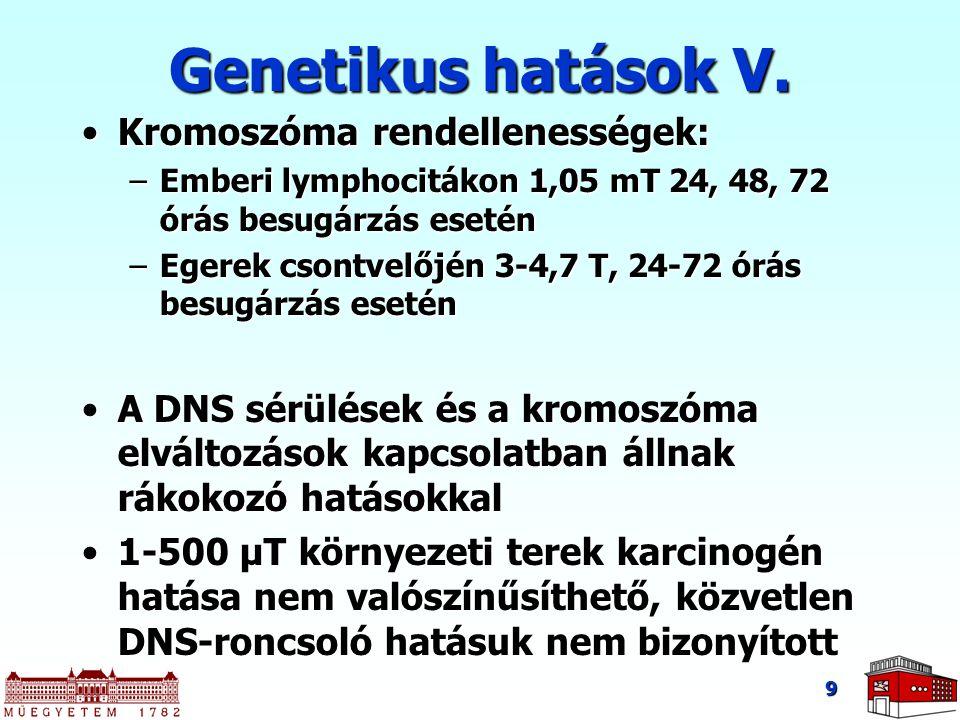 Genetikus hatások V. Kromoszóma rendellenességek: