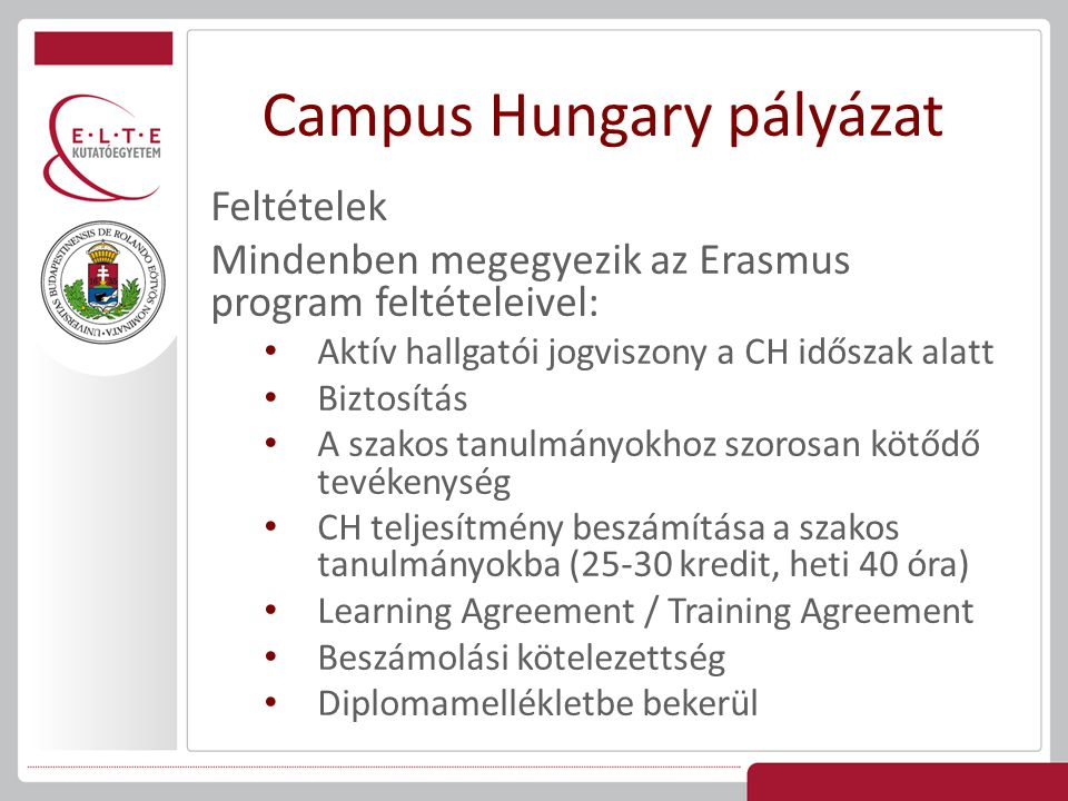 Campus Hungary pályázat
