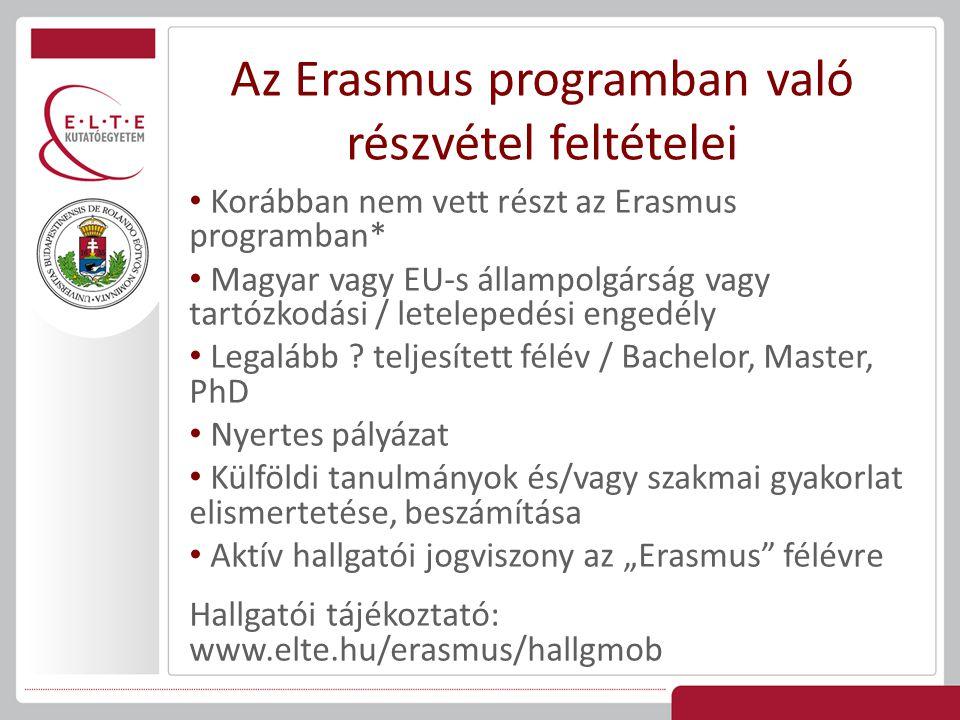 Az Erasmus programban való részvétel feltételei