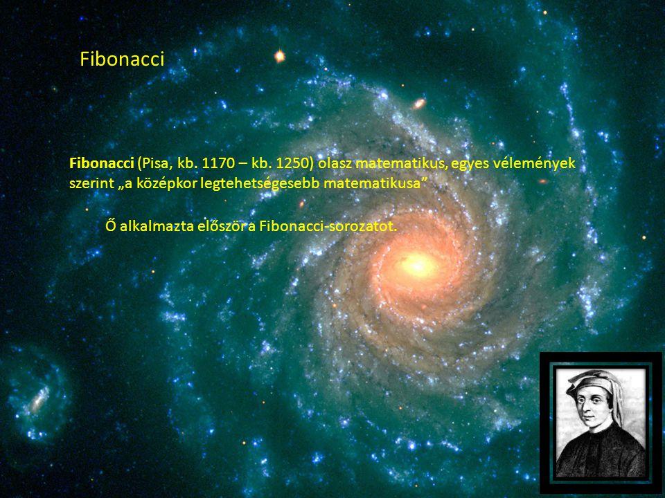 """Fibonacci Fibonacci (Pisa, kb. 1170 – kb. 1250) olasz matematikus, egyes vélemények szerint """"a középkor legtehetségesebb matematikusa"""