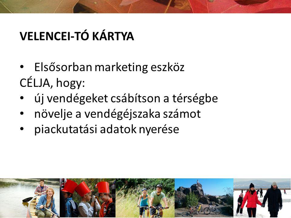 VELENCEI-TÓ KÁRTYA Elsősorban marketing eszköz. CÉLJA, hogy: új vendégeket csábítson a térségbe. növelje a vendégéjszaka számot.