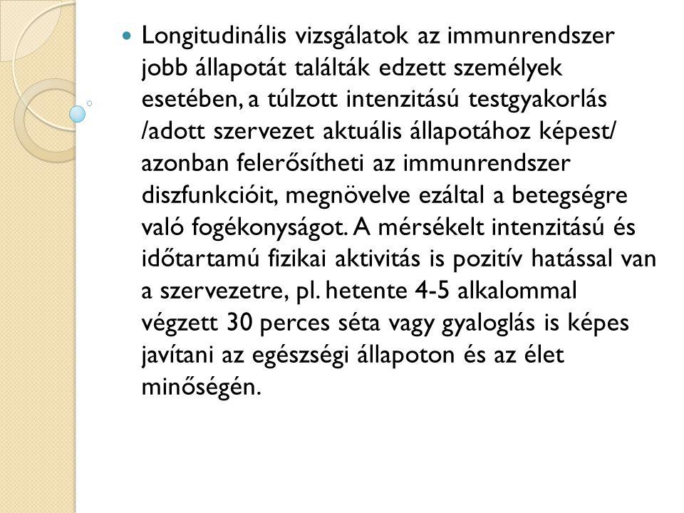 Longitudinális vizsgálatok az immunrendszer jobb állapotát találták edzett személyek esetében, a túlzott intenzitású testgyakorlás /adott szervezet aktuális állapotához képest/ azonban felerősítheti az immunrendszer diszfunkcióit, megnövelve ezáltal a betegségre való fogékonyságot.