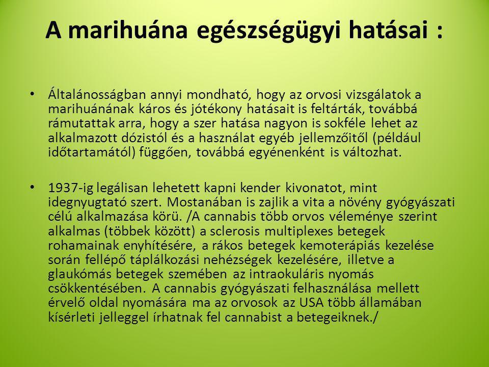 A marihuána egészségügyi hatásai :
