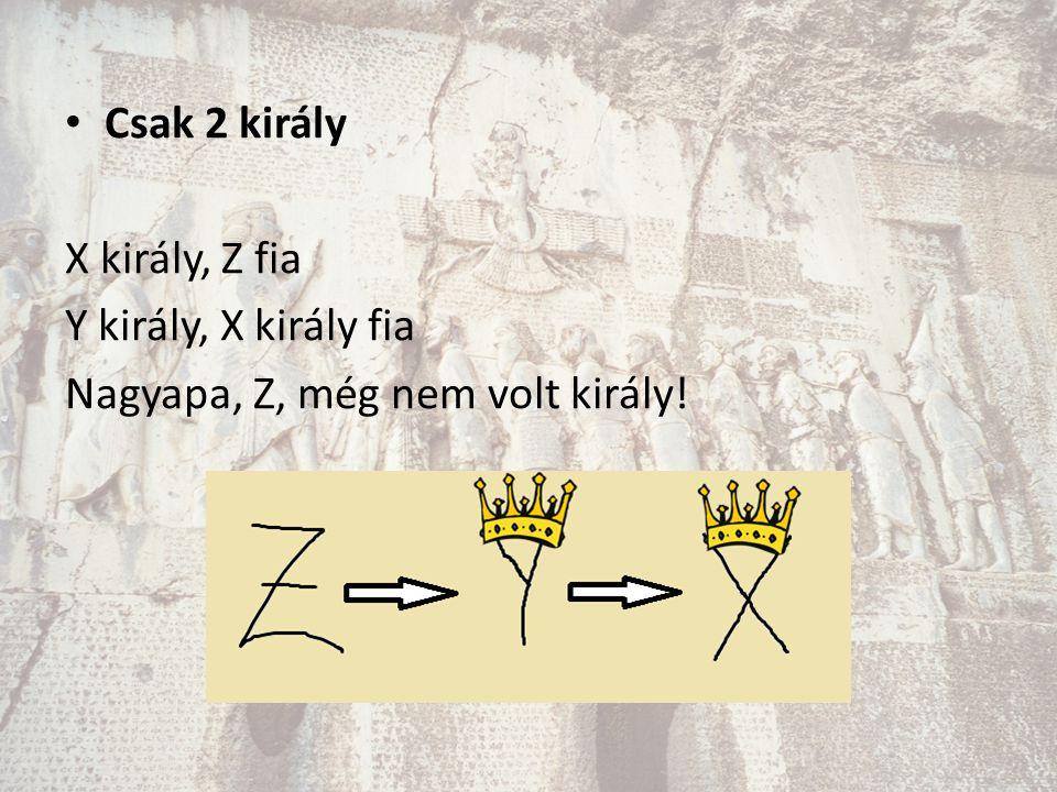 Csak 2 király X király, Z fia Y király, X király fia Nagyapa, Z, még nem volt király!