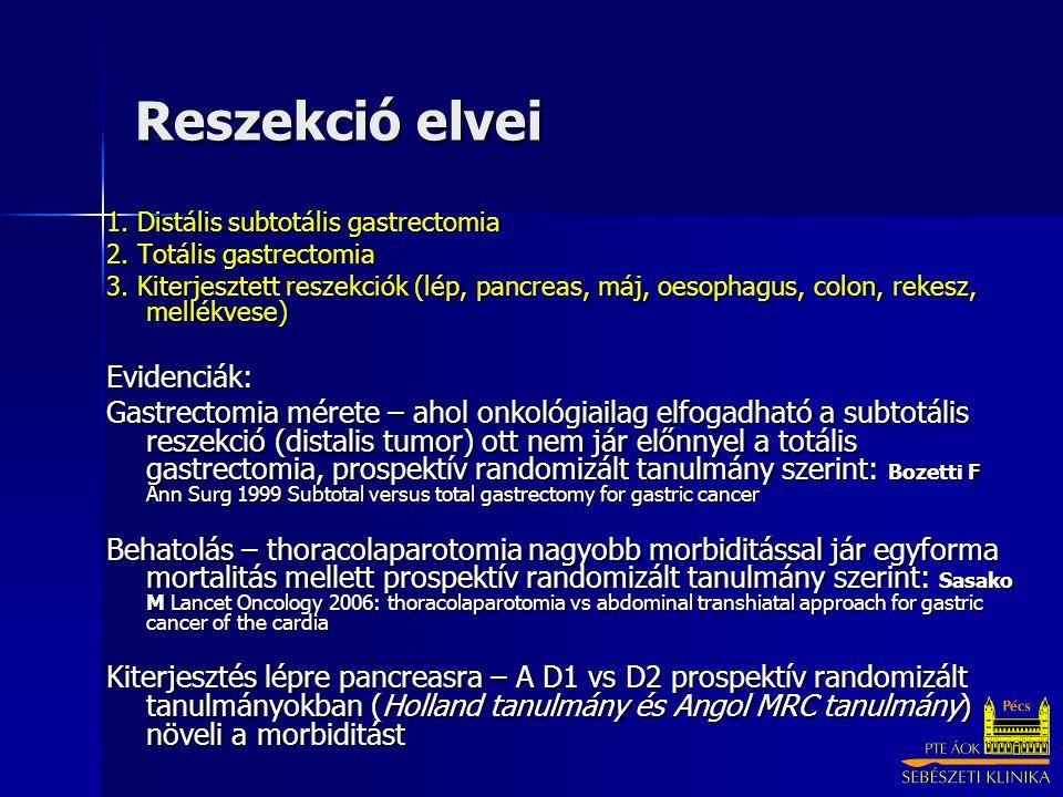 Reszekció elvei Evidenciák: