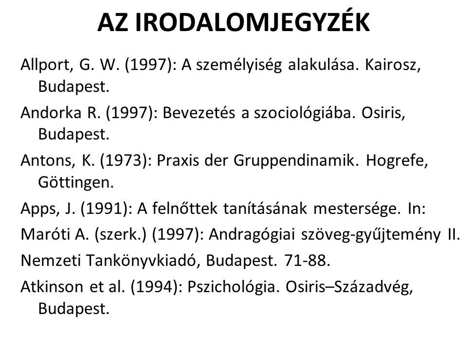 AZ IRODALOMJEGYZÉK Allport, G. W. (1997): A személyiség alakulása. Kairosz, Budapest.