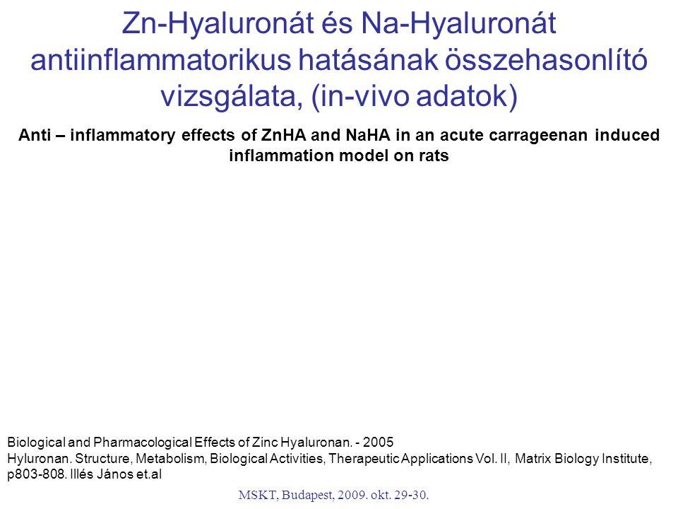Zn-Hyaluronát és Na-Hyaluronát antiinflammatorikus hatásának összehasonlító vizsgálata, (in-vivo adatok)