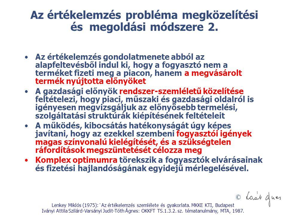 Az értékelemzés probléma megközelítési és megoldási módszere 2.