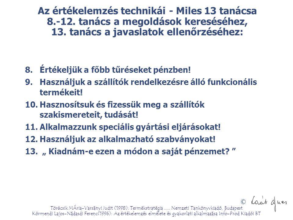 Az értékelemzés technikái - Miles 13 tanácsa 8. -12