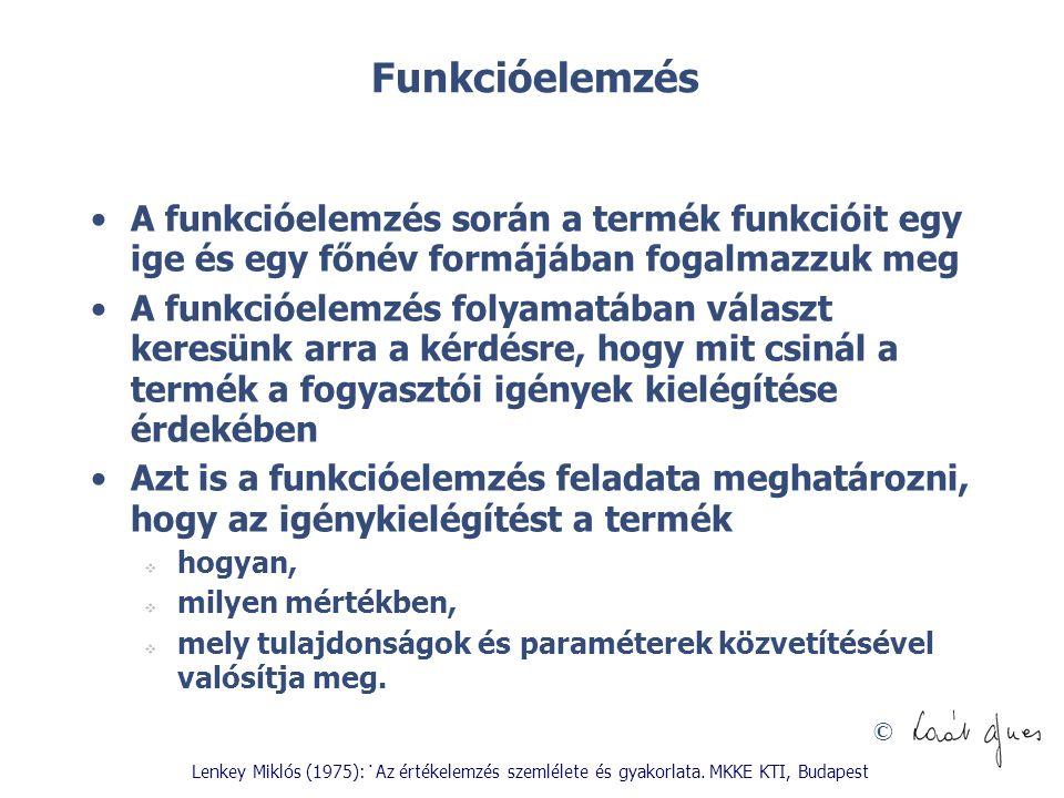 Funkcióelemzés A funkcióelemzés során a termék funkcióit egy ige és egy főnév formájában fogalmazzuk meg.