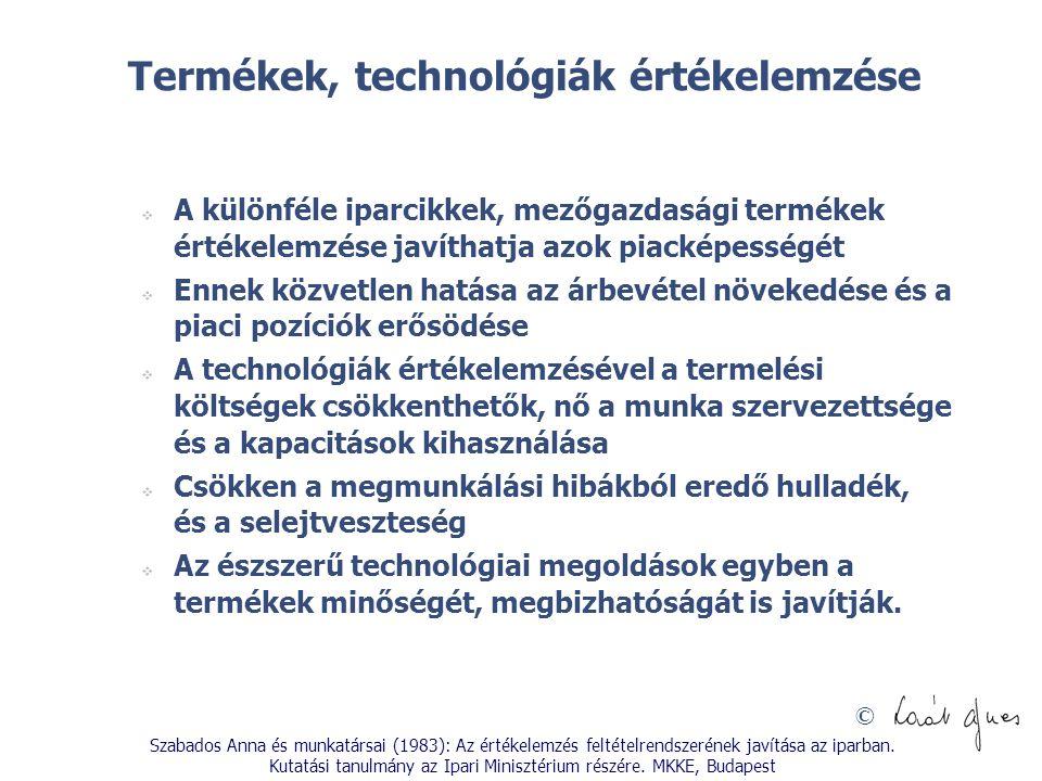Termékek, technológiák értékelemzése