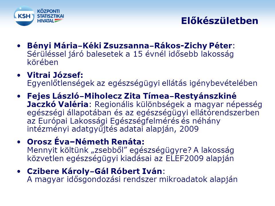 Előkészületben Bényi Mária–Kéki Zsuzsanna–Rákos-Zichy Péter: Sérüléssel járó balesetek a 15 évnél idősebb lakosság körében.