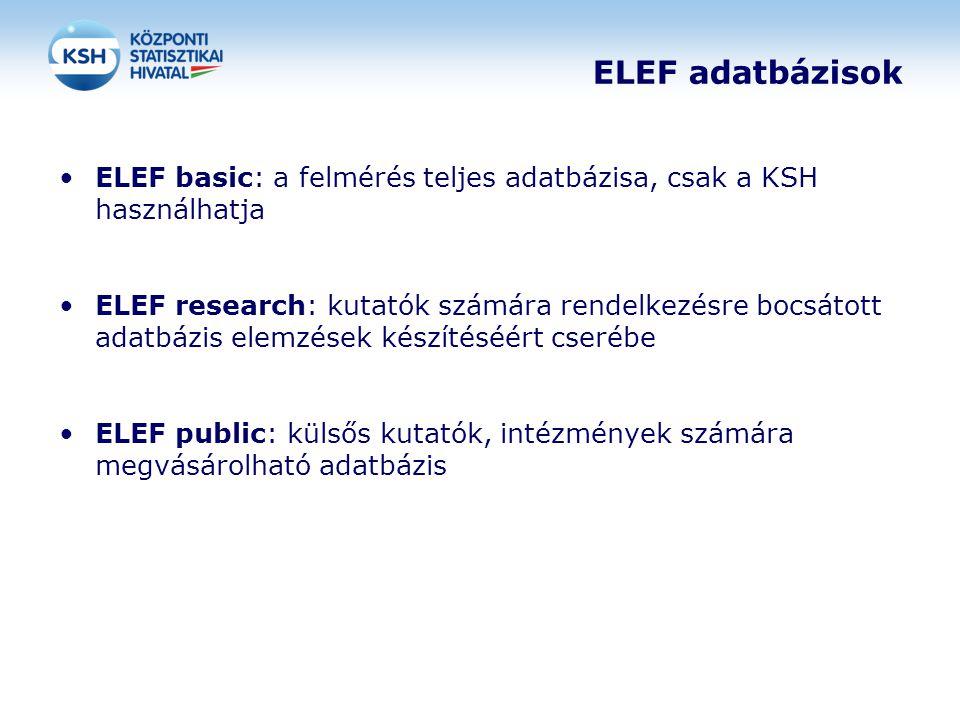 ELEF adatbázisok ELEF basic: a felmérés teljes adatbázisa, csak a KSH használhatja.
