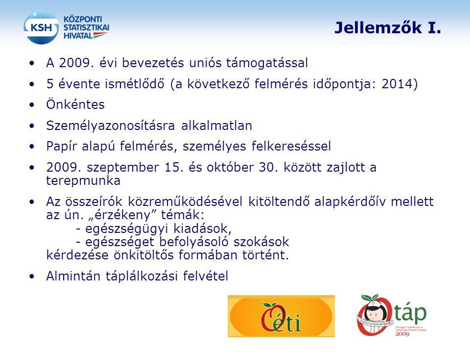 Jellemzők I. A 2009. évi bevezetés uniós támogatással
