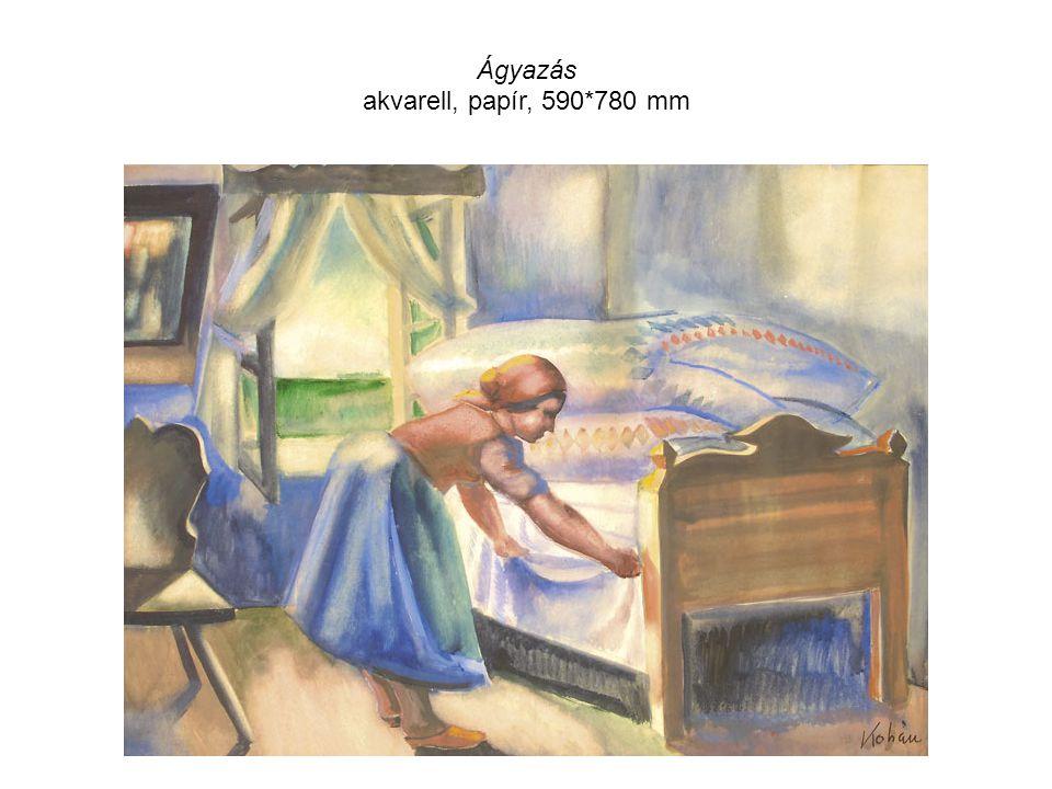 Ágyazás akvarell, papír, 590*780 mm