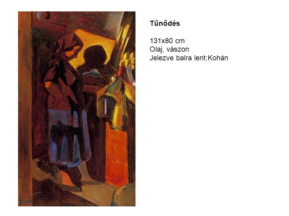 Tűnődés 131x80 cm Olaj, vászon Jelezve balra lent:Kohán