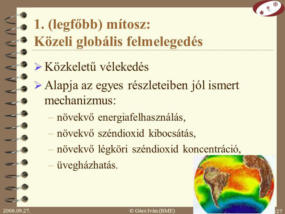 1. (legfőbb) mítosz: Közeli globális felmelegedés