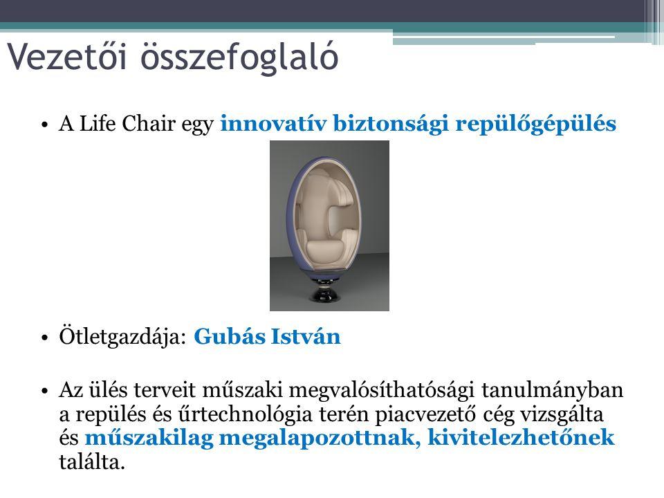 Vezetői összefoglaló A Life Chair egy innovatív biztonsági repülőgépülés. Ötletgazdája: Gubás István.