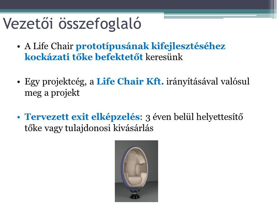 Vezetői összefoglaló A Life Chair prototípusának kifejlesztéséhez kockázati tőke befektetőt keresünk.