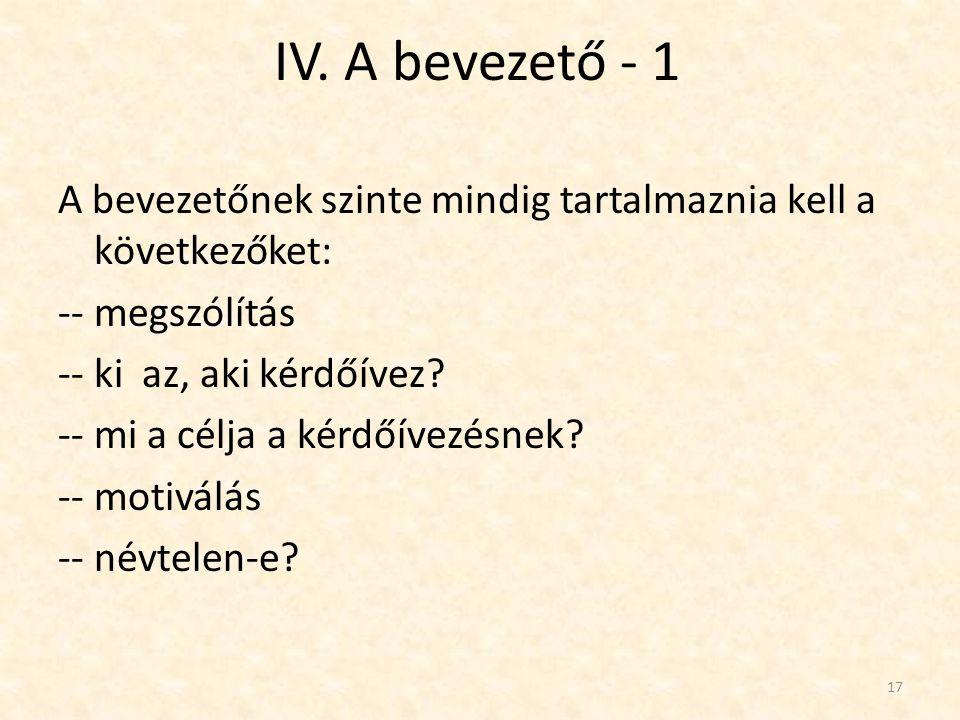 IV. A bevezető - 1