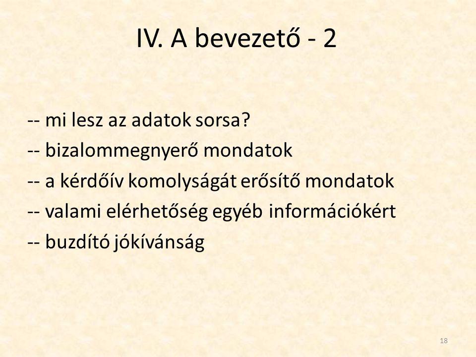 IV. A bevezető - 2