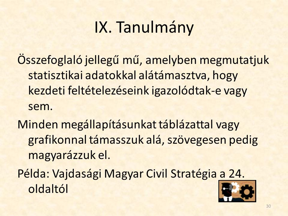 IX. Tanulmány