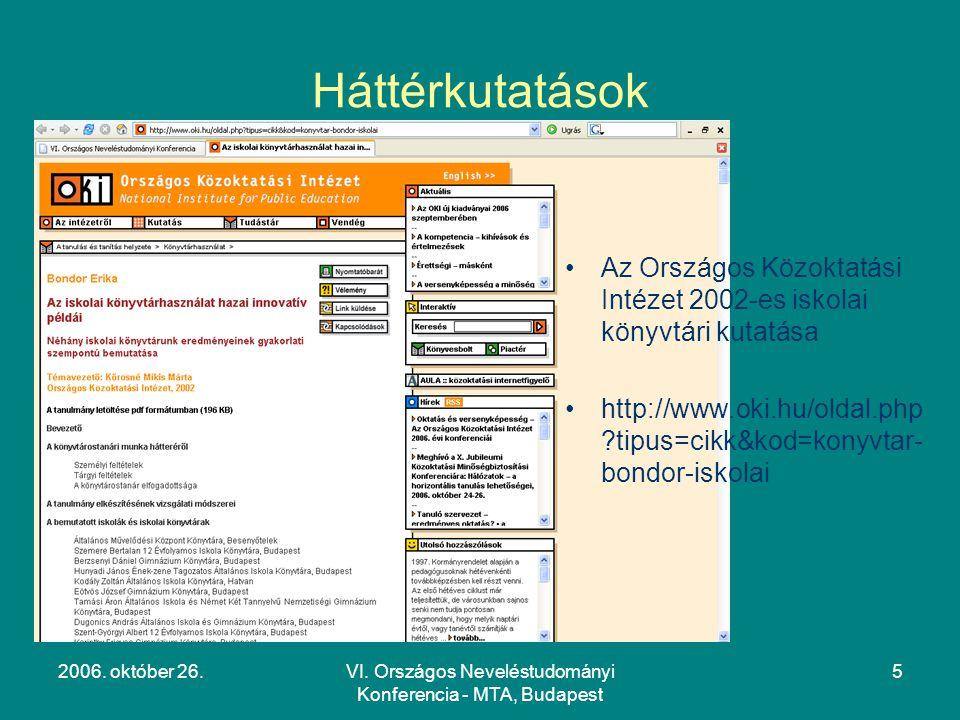 VI. Országos Neveléstudományi Konferencia - MTA, Budapest