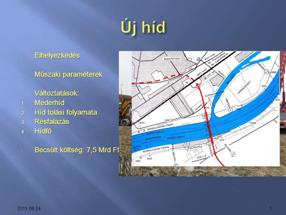 Új híd Elhelyezkedés Műszaki paraméterek Változtatások: Mederhíd