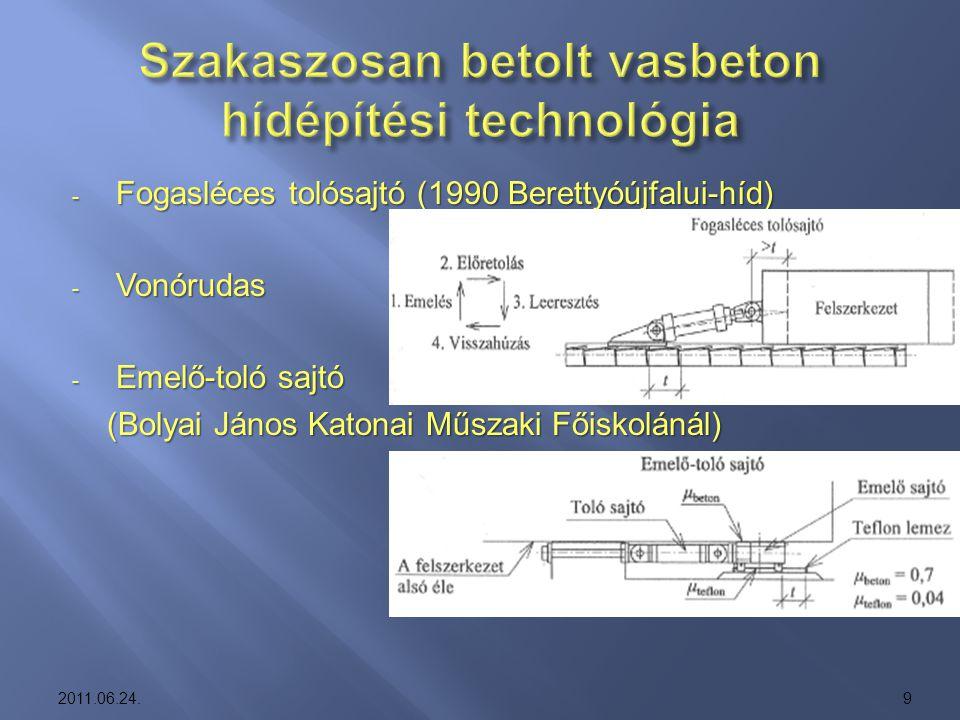 Szakaszosan betolt vasbeton hídépítési technológia
