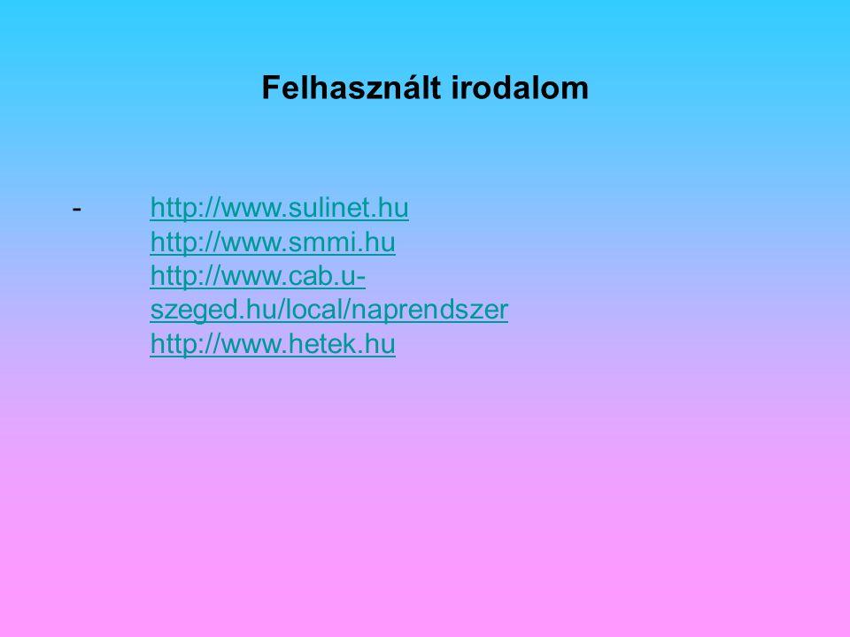 Felhasznált irodalom http://www.sulinet.hu http://www.smmi.hu http://www.cab.u-szeged.hu/local/naprendszer http://www.hetek.hu.
