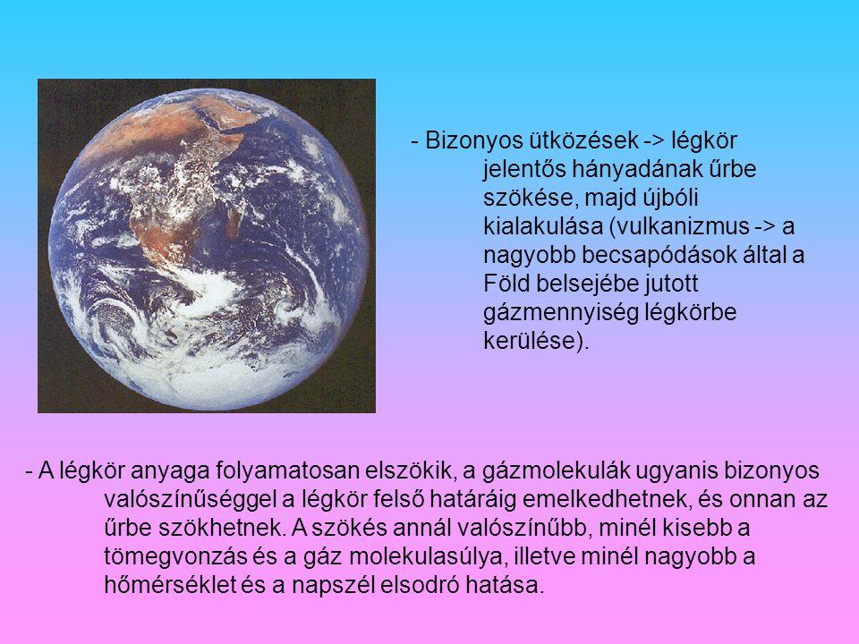 - Bizonyos ütközések -> légkör jelentős hányadának űrbe szökése, majd újbóli kialakulása (vulkanizmus -> a nagyobb becsapódások által a Föld belsejébe jutott gázmennyiség légkörbe kerülése).