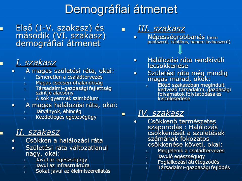 Demográfiai átmenet Első (I-V. szakasz) és második (VI. szakasz) demográfiai átmenet. I. szakasz. A magas születési ráta, okai: