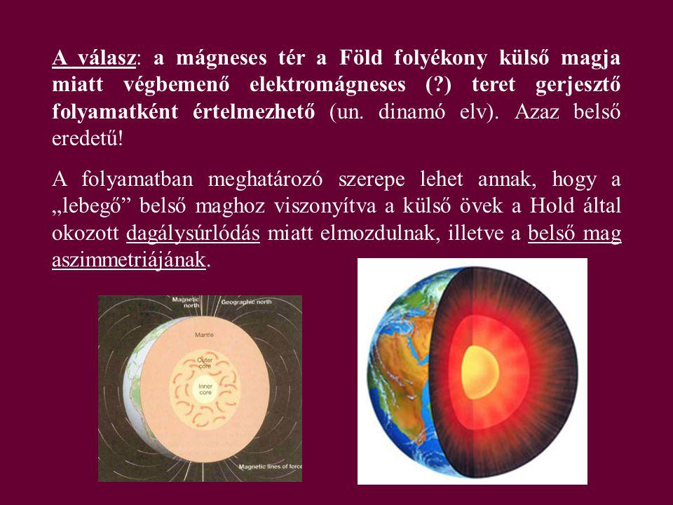 A válasz: a mágneses tér a Föld folyékony külső magja miatt végbemenő elektromágneses ( ) teret gerjesztő folyamatként értelmezhető (un. dinamó elv). Azaz belső eredetű!