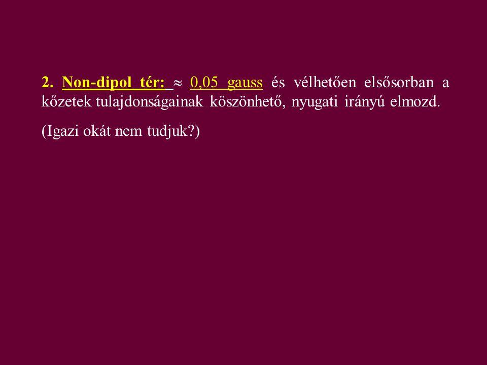 2. Non-dipol tér:  0,05 gauss és vélhetően elsősorban a kőzetek tulajdonságainak köszönhető, nyugati irányú elmozd.